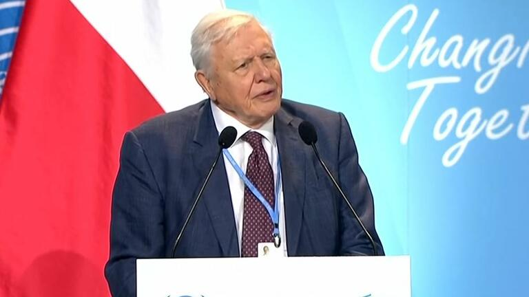 Sir David Attenborough speaking at COP24