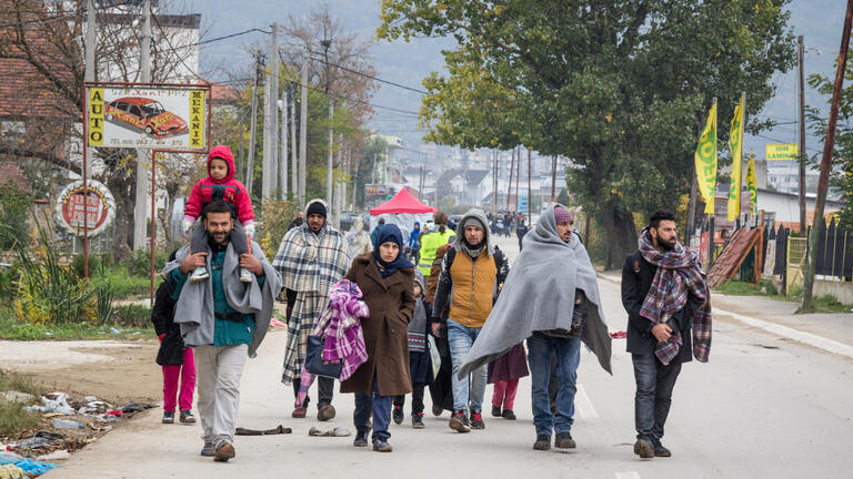 Migrants walking in Croatia