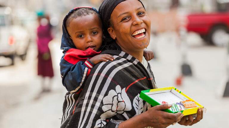 Ethiopian woman with child
