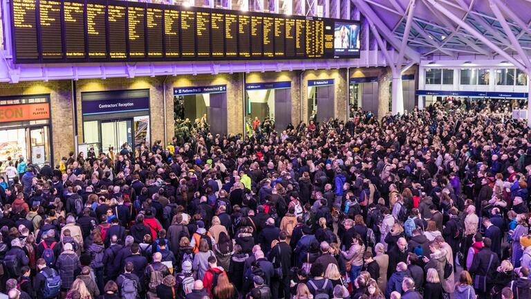 Crowd at King's Cross Station