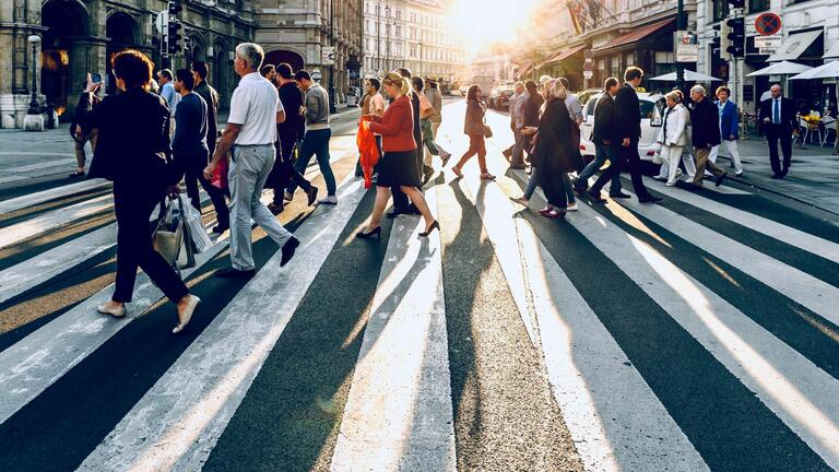 Crowd crossing road