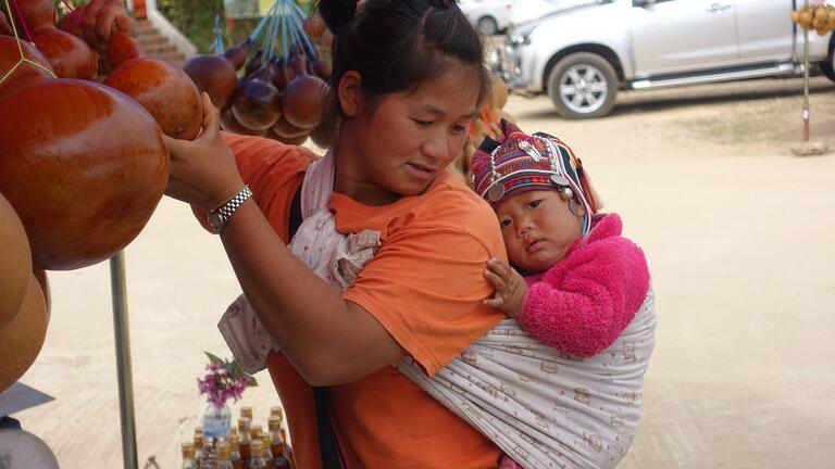 Thai mother and baby