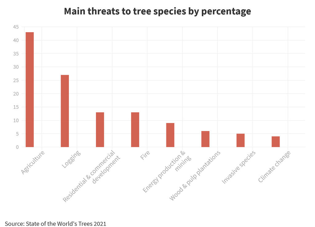 Main threats to tree species by percentage