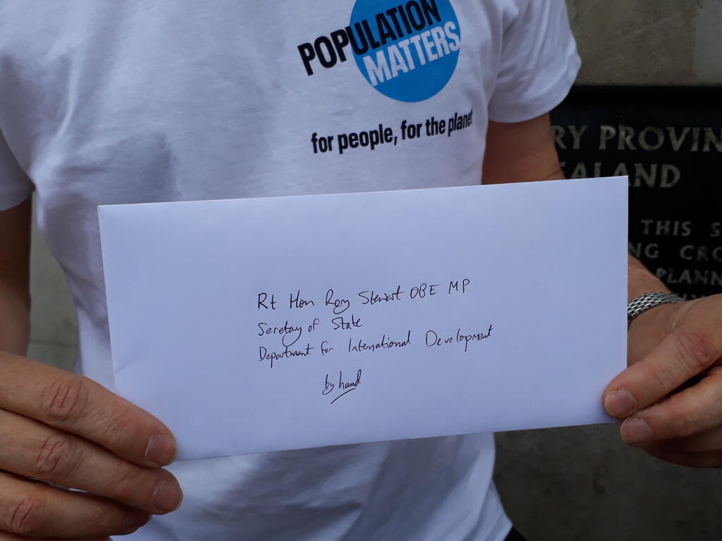 Letter to Rory Stewart World Population Day 2019