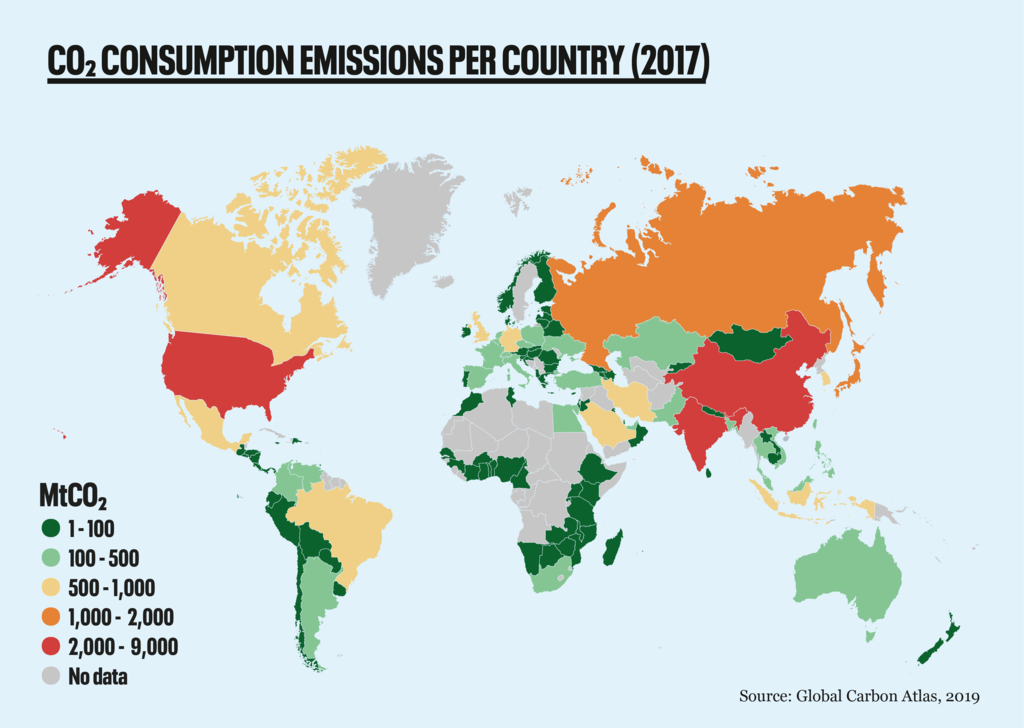 Map of greenhouse gas emissions per country