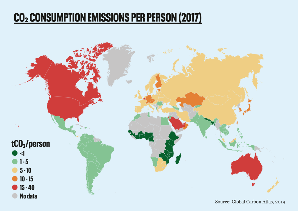 Map of CO2 emissions per person