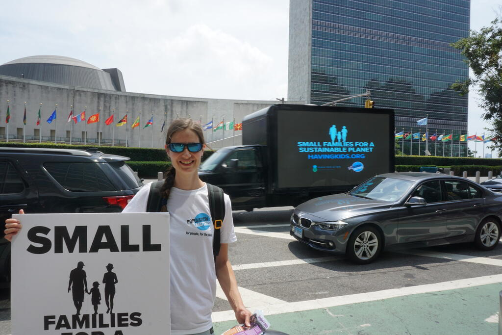 Population Matters' Olivia at UN HQ on World Population Day 2019