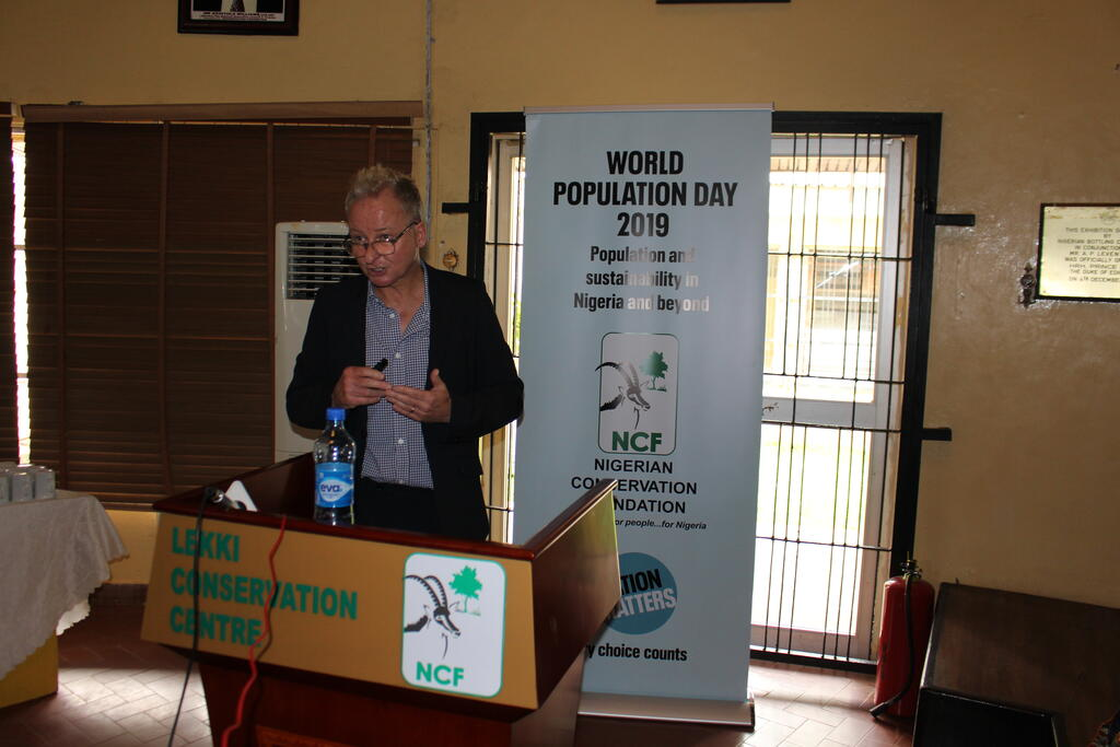 Robin Maynard at World Population Day 2019 forum, Lagos