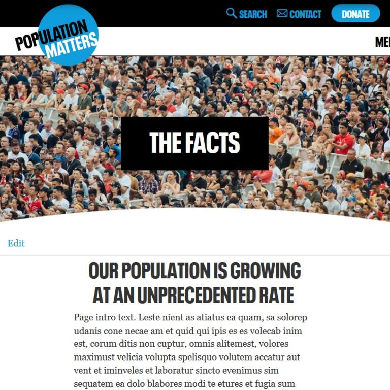 Population Matters website page